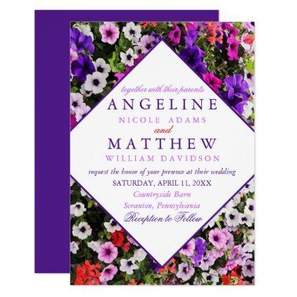 purple spring floral wedding hydrangea invitation