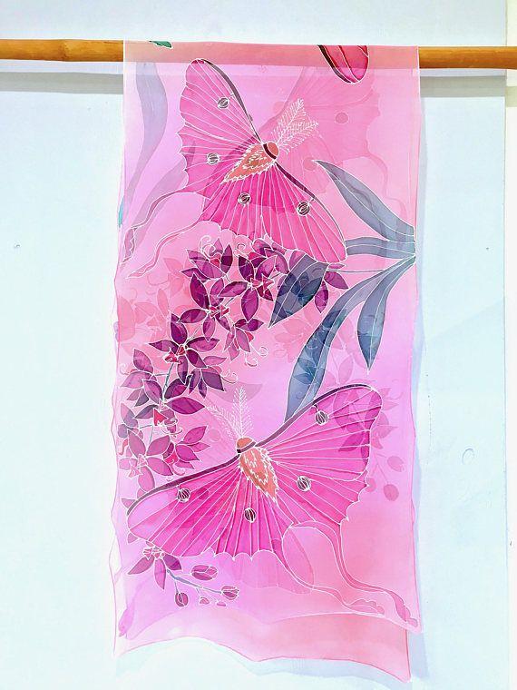 Hand Painted Silk Shawl, Pink Chiffon Shawl, Bridal Chiffon