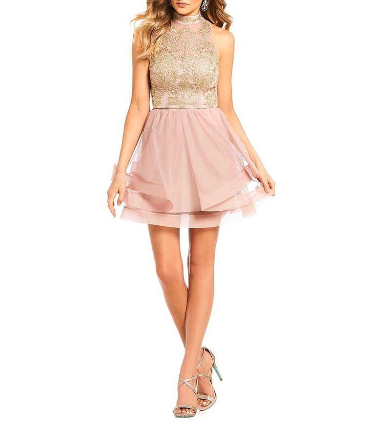 400381dc753 Jodi Kristopher Embroidered Lace Mock Neck Top with Horsehair Skirt Two-Piece  Dress