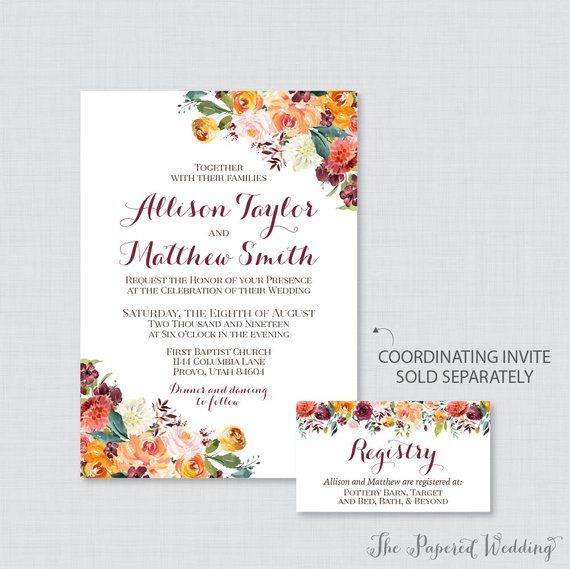 printable or printed wedding registry cards fall floral