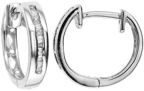 76e5e1808 JCPenney FINE JEWELRY LIMITED QUANTITIES 1/10 CT. T.W. Diamond 10K White  Gold Hoop Earrings