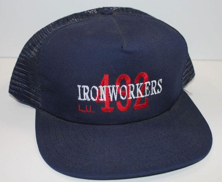 0c422a893b0da Vintage Ironworkers 492 Trucker Hat Mesh Snapback USA Made