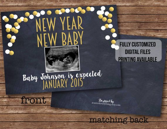 new year new baby sonogram fully customized 2016 confetti pregnancy announcement card