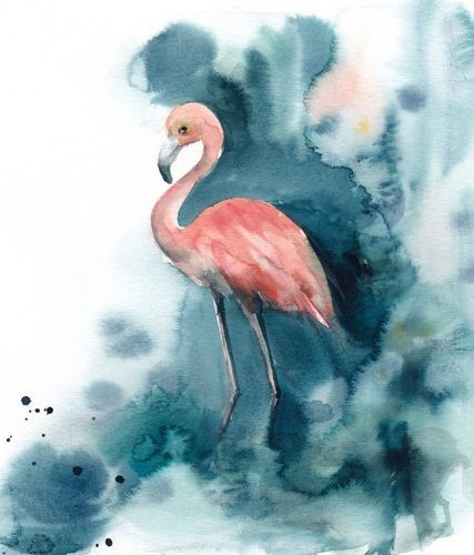 Contemporary watercolor painting of pink flamingo on an indigo and white background. Pink and Blue Flamingo Wall Art by Sophia Rodionov from Great BIG Canvas.