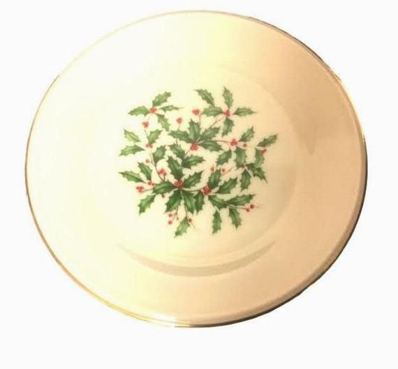 2 lenox christmas plates holly berries holiday tableware pattern special