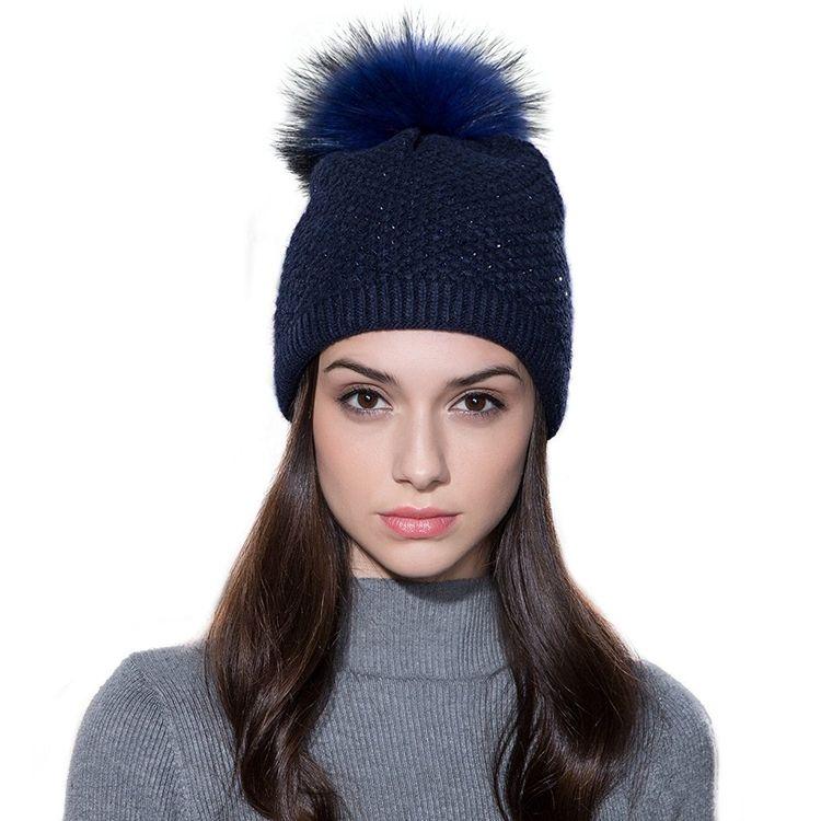 83998cee11a Ladies Raccoon Knitted Crystal - Navy Blue   Navy Blue Pom Pom - C912NU6M3FG