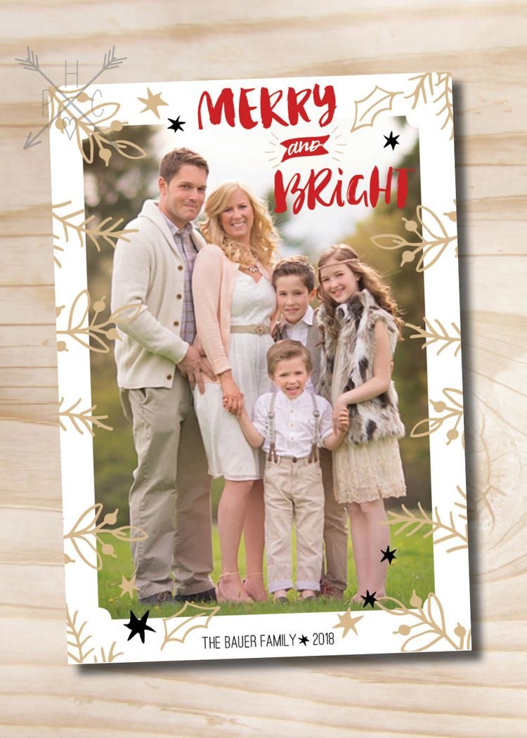 Merry and Bright Christmas Card Holiday Card // Photo Chri
