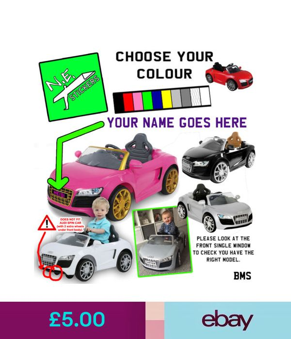 PERSONALISED Kids Number Plate S For ELECTRIC V Audi R - Audi 6v ride toy cars