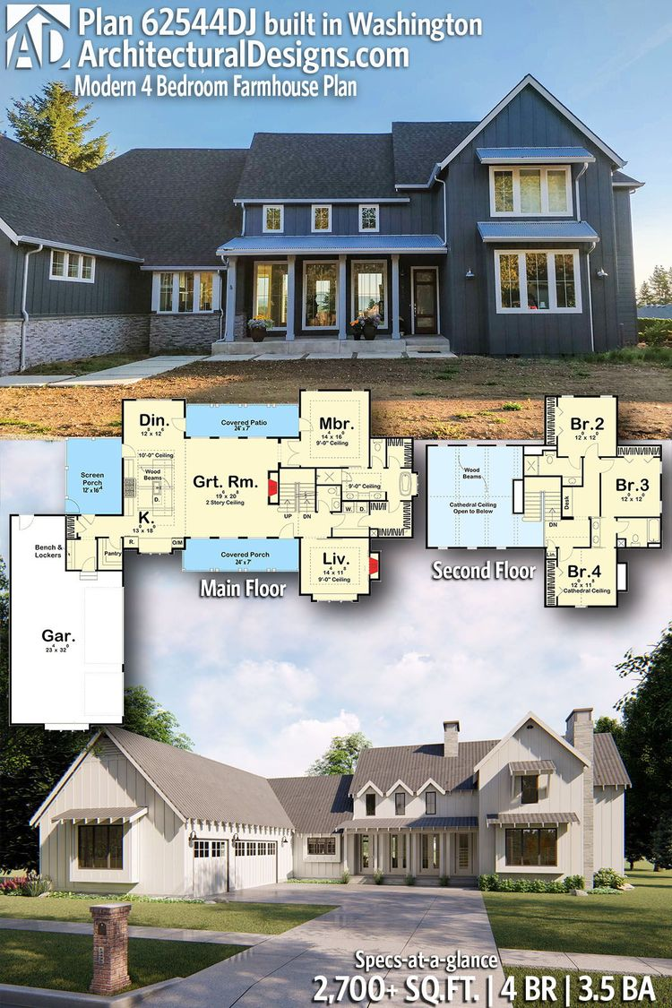 Architectural Designs Modern Farmhouse House Plan 62544DJ