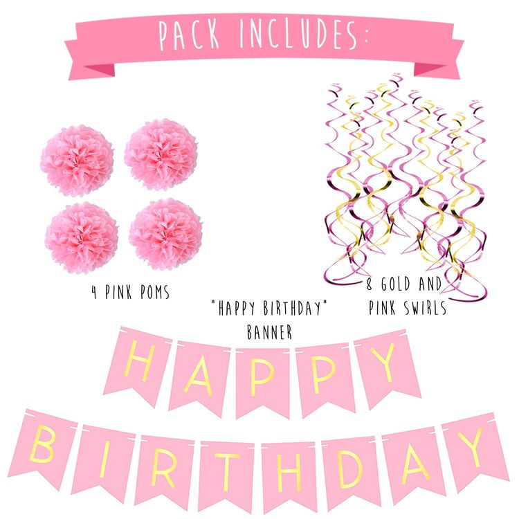 Birthday Party Pack EUR Pastel Pink Happy Bunting Poms And Swirls Decorations 21st 30th 40th 50th Supplies Learn
