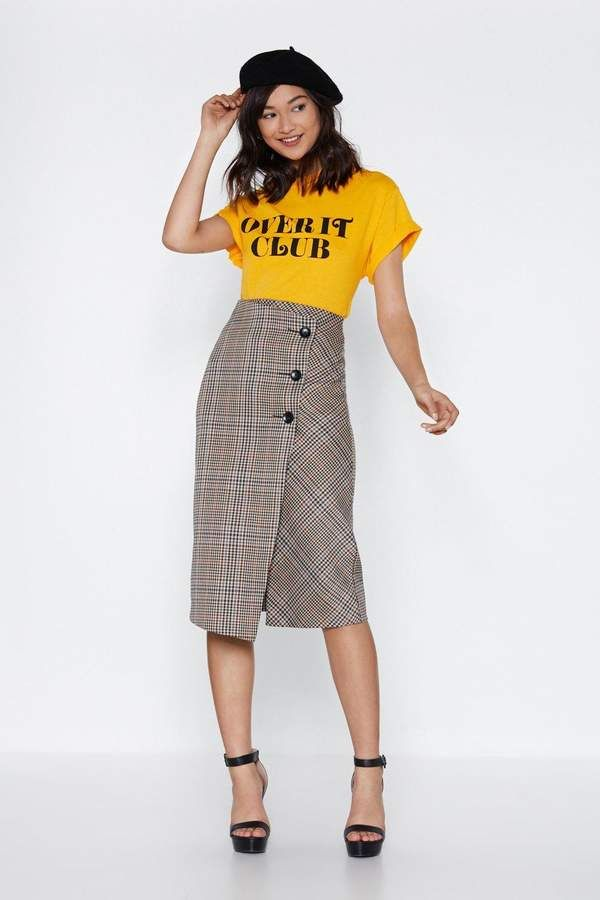 Keep Yourself in Check Midi Skirt