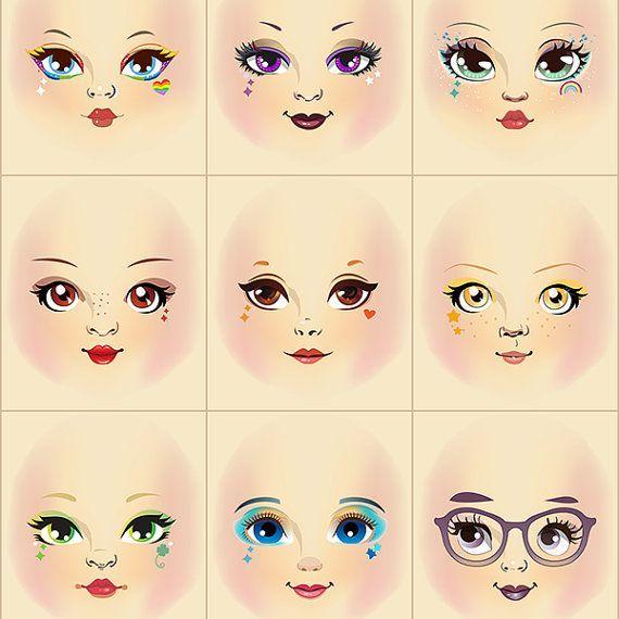 Rainbow meninas pano boneca enfrenta pronto para costurar painel de tecido rosa sombra A6C2 Rainbow meninas pano boneca enfrenta pronto para costurar painel de tecido rosa sombra A6C2