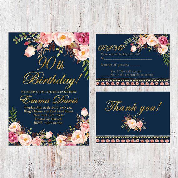 90th Birthday InvitationWomen InvitationFloral Navy Women InviteFREE RSVP Card