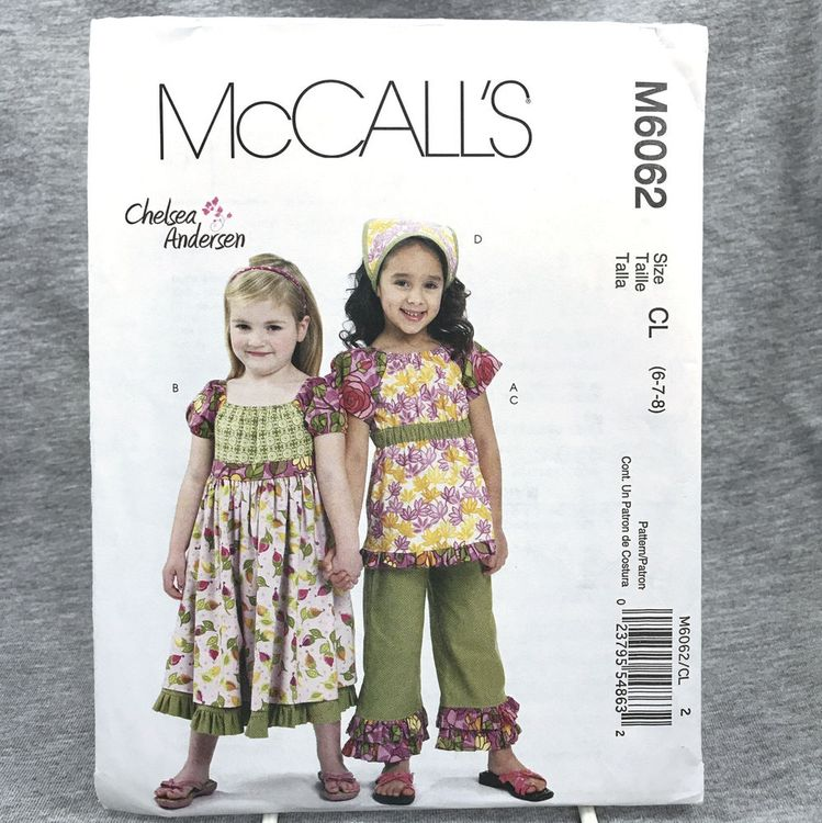 Details about NEW McCall\'s Pattern M 6062 Girls sz 6-8 \
