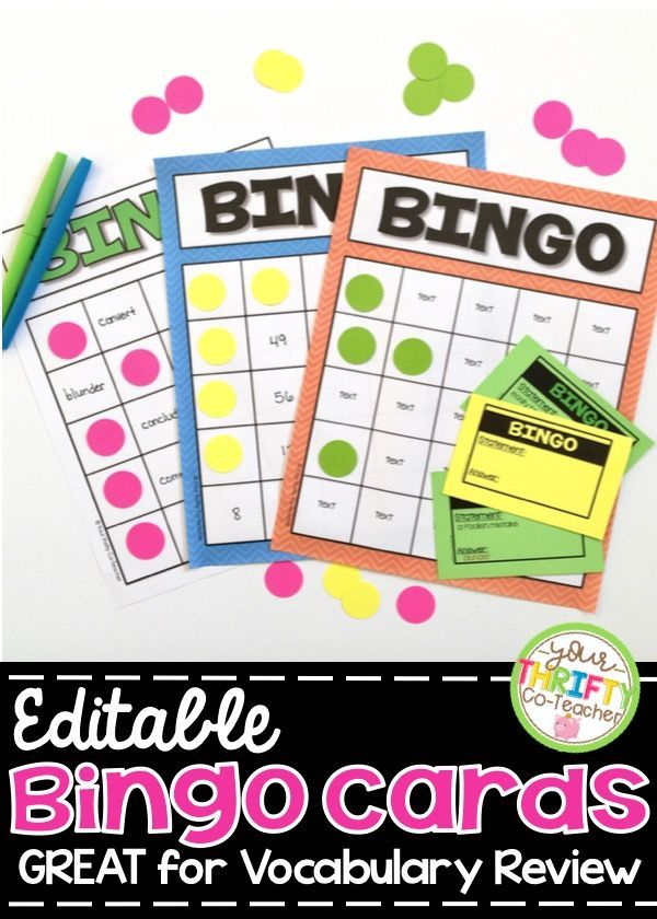 bingo cards editable and noneditable templates and calli