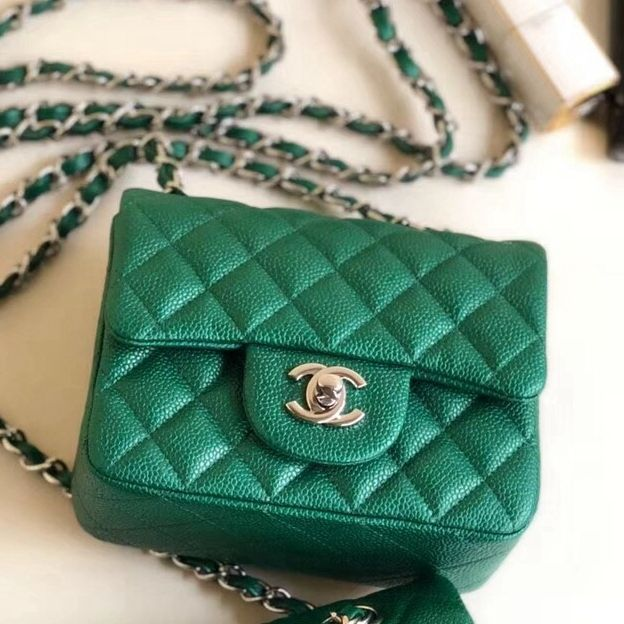 4a4edb273d5b Chanel Quilting Pearl Caviar Calfskin Mini Square Classic Flap Bag Green  2018