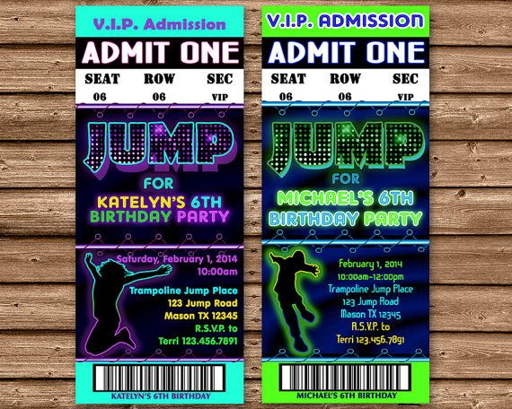 Fun DIY Printable Jump Trampoline Birthday Party Invitations That Look Like Real Admission Tickets Accented