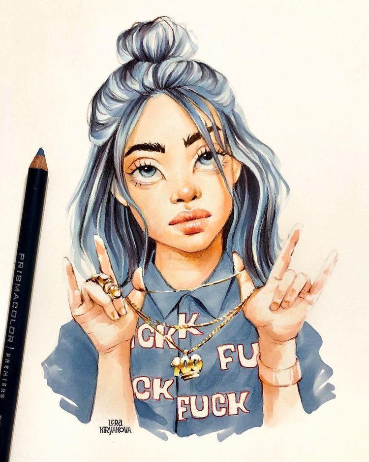"Yuriy Strigul no Instagram: ""#pencil ✏️ + #marker 🖍 retrato de Billie Eilish @wherearetheavocados desenhado por Lera Kiryakova @lera_kiryakova artist from Russia 🇷🇺"""