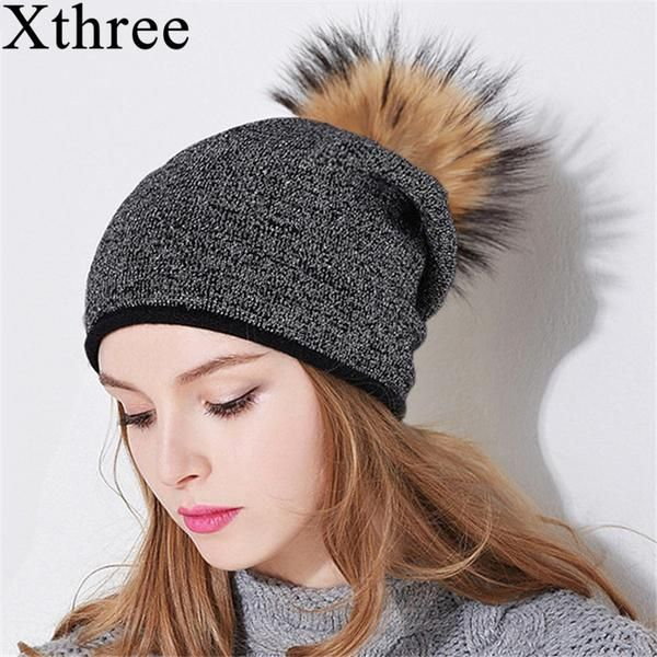 983f628fae7c2e Xthree Women Winter Hat Wool Knitted Hat Beanie With Real Mink Fur Pom Poms  Skullie Hat For Women Girls