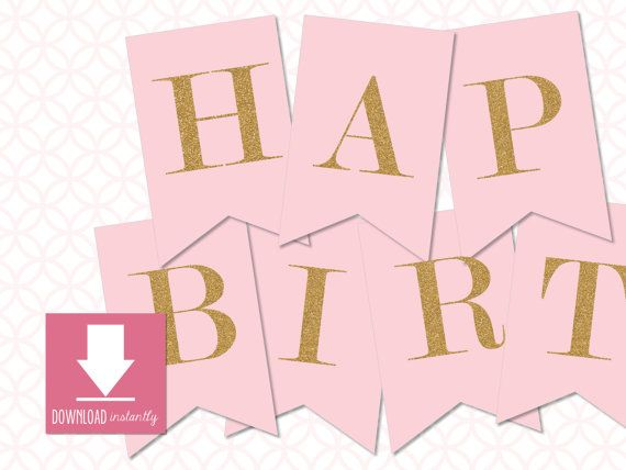 printable pennant blush pink with gold glitter happy birth