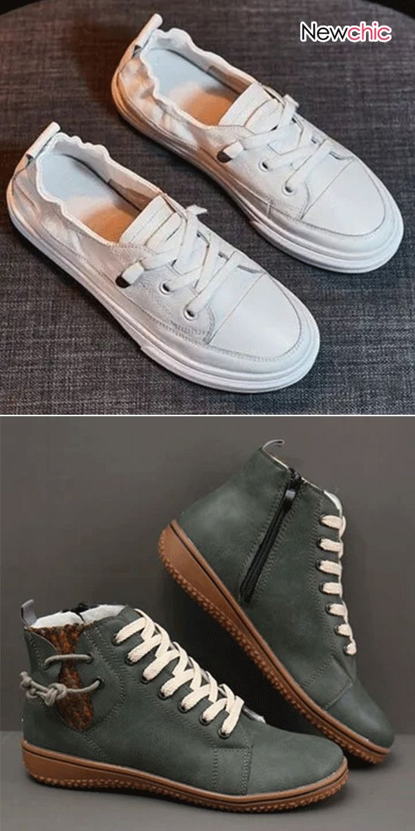 Women Casual PU Leather Lace Up White Flat Shoes