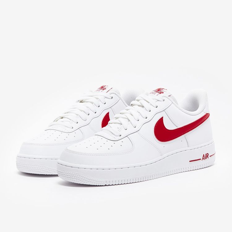 Mens Shoes - Nike Air Force 1 07 3 - White - Red - Basketball