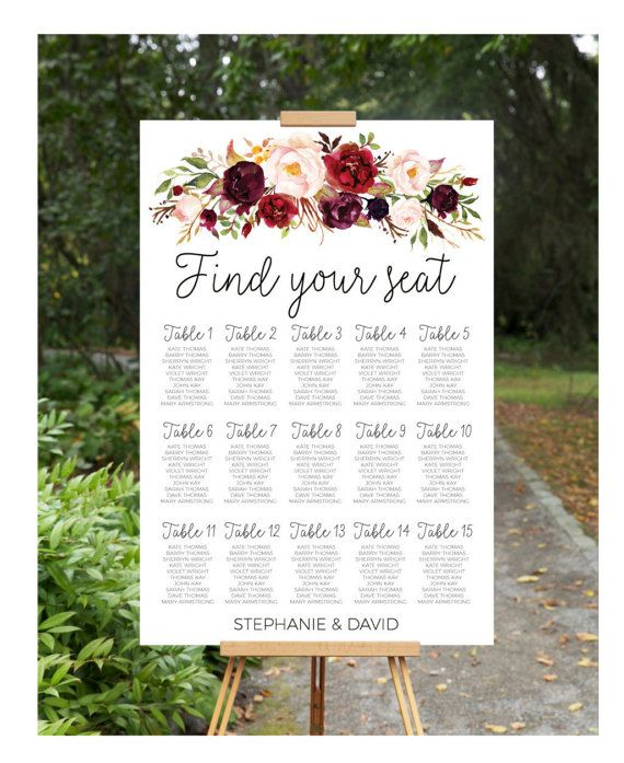 Wedding Seating Chart Plan Printable Engagement Sign