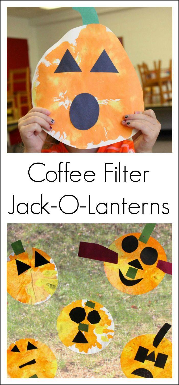 coffee filter jack-o-lanterns