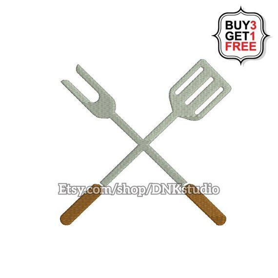 Crossed Bbq Barbecue Grill Fork And Spatula Embroidery Desi