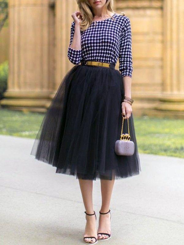 92f8932e0f7ba9 Black Plain Mesh Grenadine Draped Fluffy Puffy Tulle High Waisted New  Faldas Adorable Tutu Midi Skirt