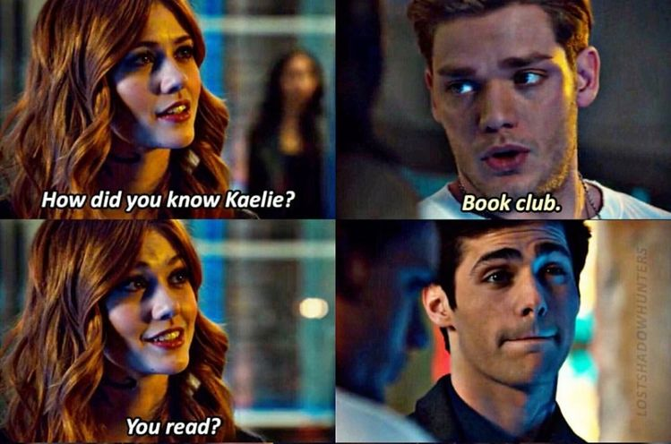 Alec's face... is too much Lol....even though this wasn't in the book series it is so funny