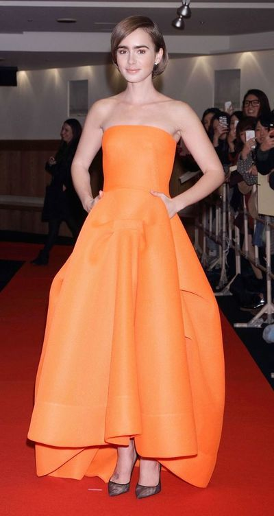 ac93bf392ef Inspired by Lily Collin Celebrity Dresses Ball Gown Orange Strapless Prom  Dresses Evening Formal Gowns