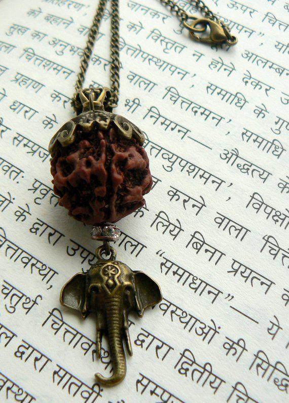 ecda48dee Rudraksha necklace with Ganesha Hindu jewelry Yoga gift | Etsy