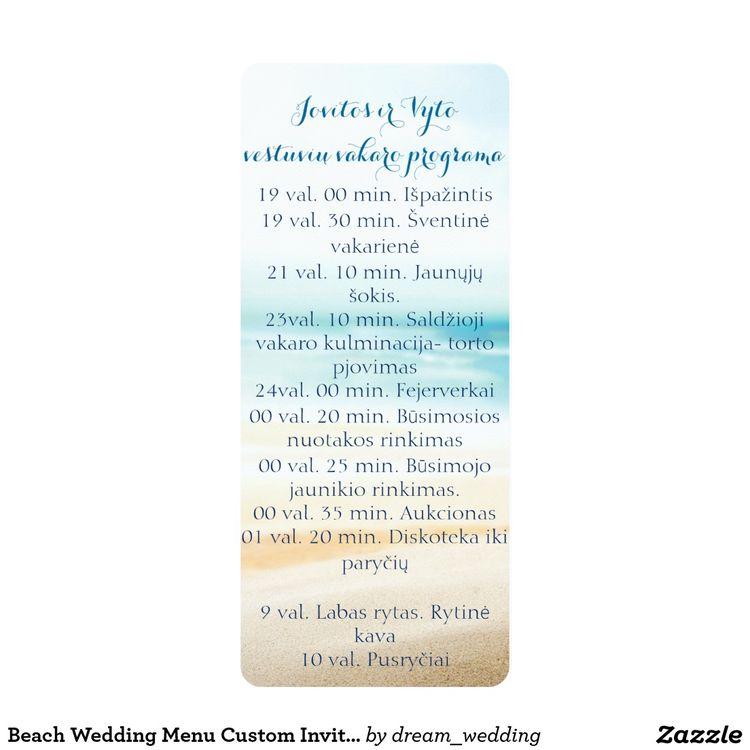 Beach Wedding Menu Custom Invitations