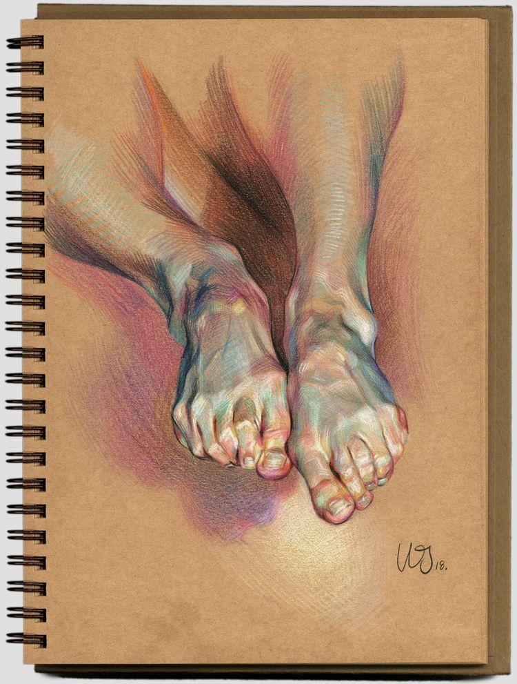 Desenhos anatômicos dramáticos compostos por cores hachuradas complexas por WanJin Gim