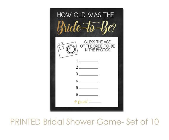 set of 10 printed chalkboard bridal shower games guess the age click through to find matching games favors thank you cards inserts decor and more