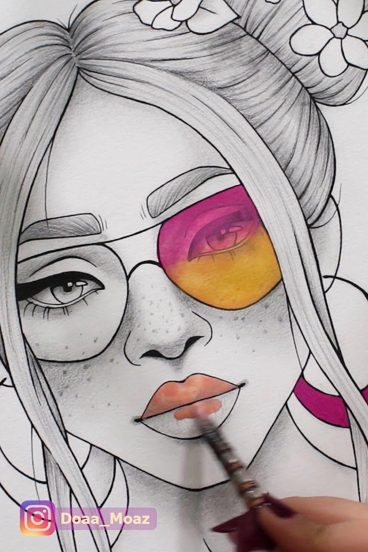 Página para colorir adulto retrato de menina e roupas para colorir folha floral pdf para impressão anti-stress relaxante zentangle line art