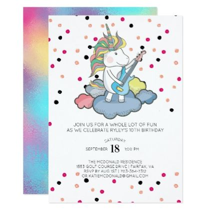Rocker Unicorn Birthday Invitation