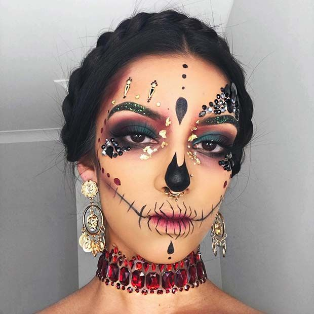 Pretty Skull Makeup with Rhinestones