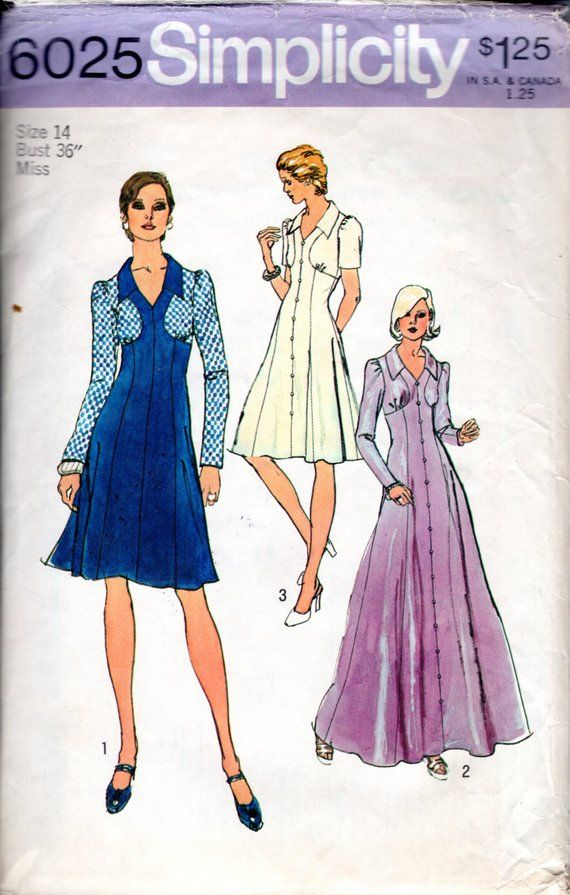 b55e2e605f8 Sewing Pattern Vintage 70s Maxi Dress w Bodice Detailing Size 14 Bust 36