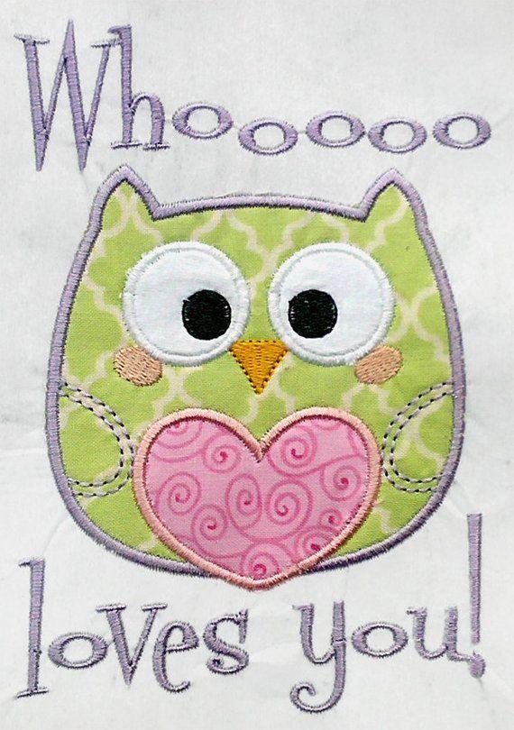 Owl Love Valentine Machine Embroidery Applique Design By C