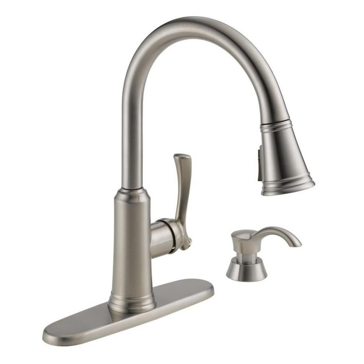 Delta Lakeview Single Handle Pull Down Sprayer Kitchen Faucet With Shieldspray Technology And Soap