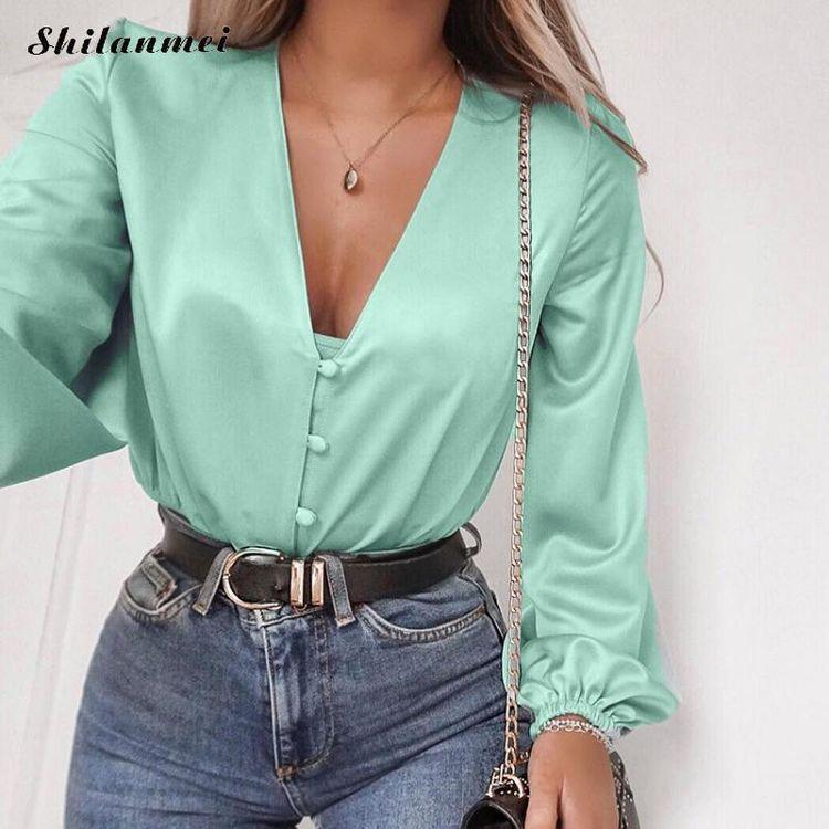 V Neck Green Satin Long Sleeve Silk Tops Blouse SF – loveitbabe