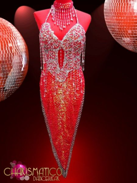 31f1f3e2a6 Charismatico Dancewear Store - Iridescent Red Sequin Latin Dance Dress with  Silver Beaded Detailing, $179.00