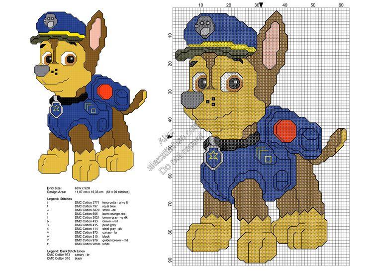 Paw Patrol Chase Free Cross Stitch Pattern 61x90