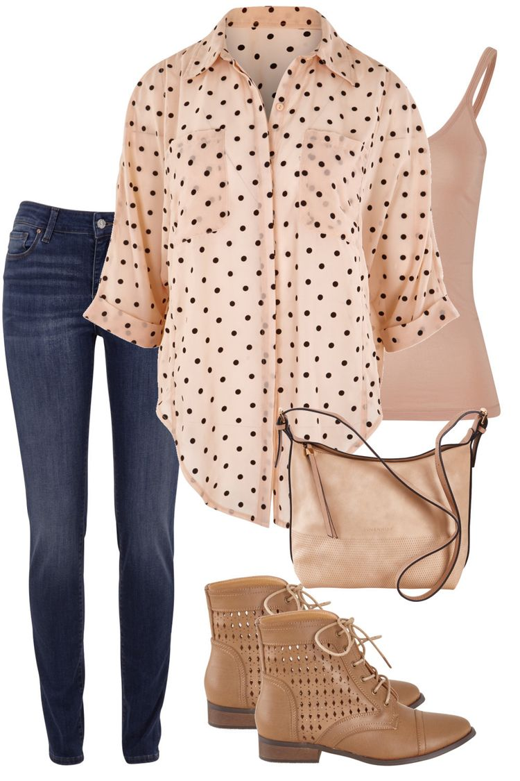 Pink polka dot top, blue jeans, neutral ankle boots.