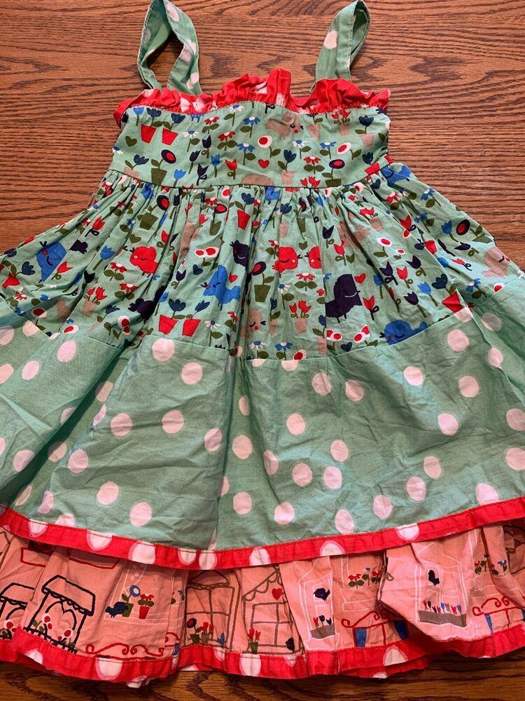 255865e0d Details about Tea Collection Toddler Girls Size 3 Polka Dot, Wave Print  Sleeveless Dress