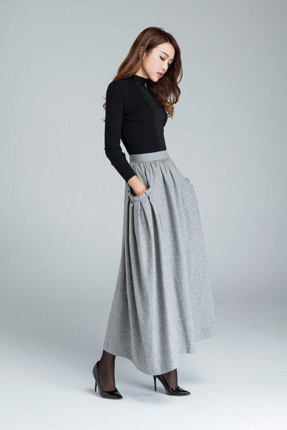 c7443ac3f1 Pocket skirt, wool skirt, maxi skirt, light grey skirt, womens skirts, winter  skirt, fitted waisted skirt, pleated skirt, mod clothing 1624