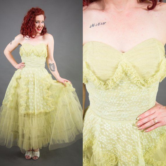 c0a4a283afa 1950s Lime Green Lace and Tulle Cupcake Dress - Size XS