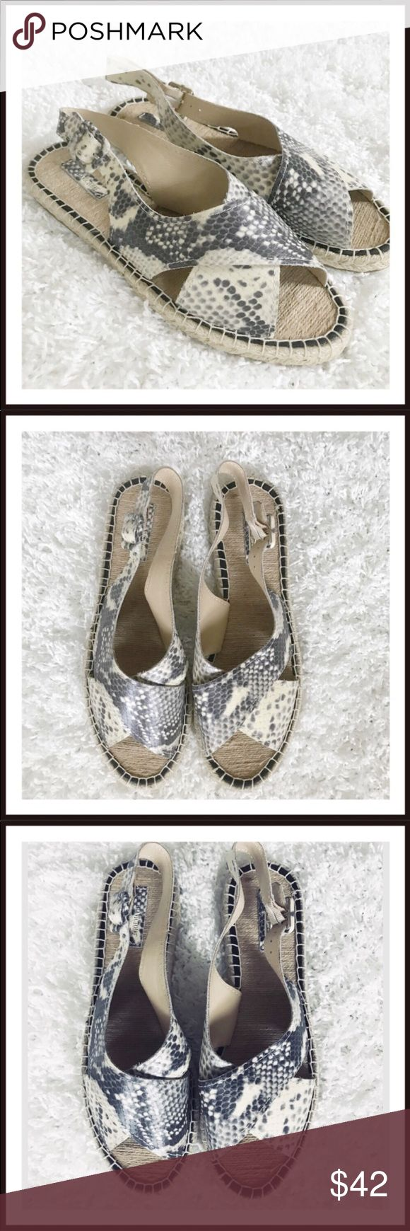 413705228d28  Snakeskin Leather upper with a Open-Toe .  An earthy espadrille sole  balances the effortless elegance of an open-toe slingback sandal in richly  ...